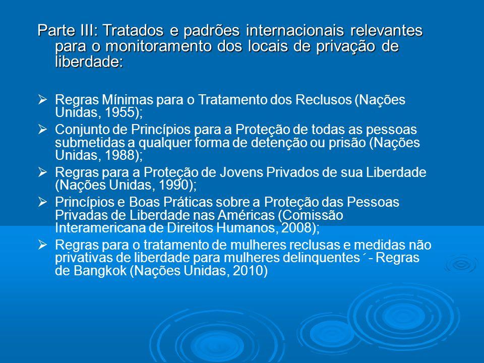 Parte III: Tratados e padrões internacionais relevantes para o monitoramento dos locais de privação de liberdade: