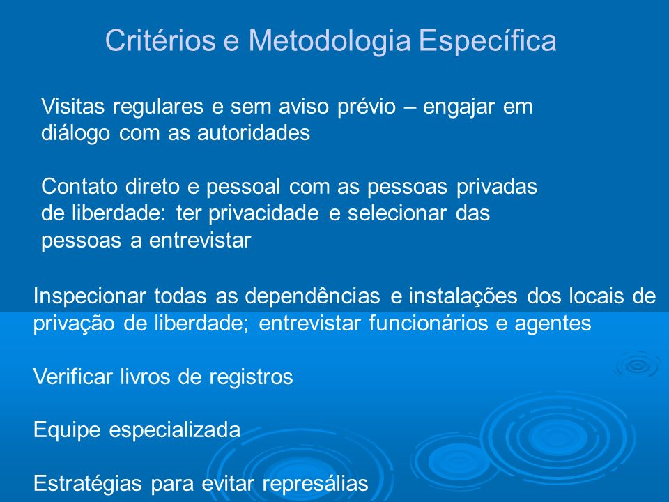 Critérios e Metodologia Específica