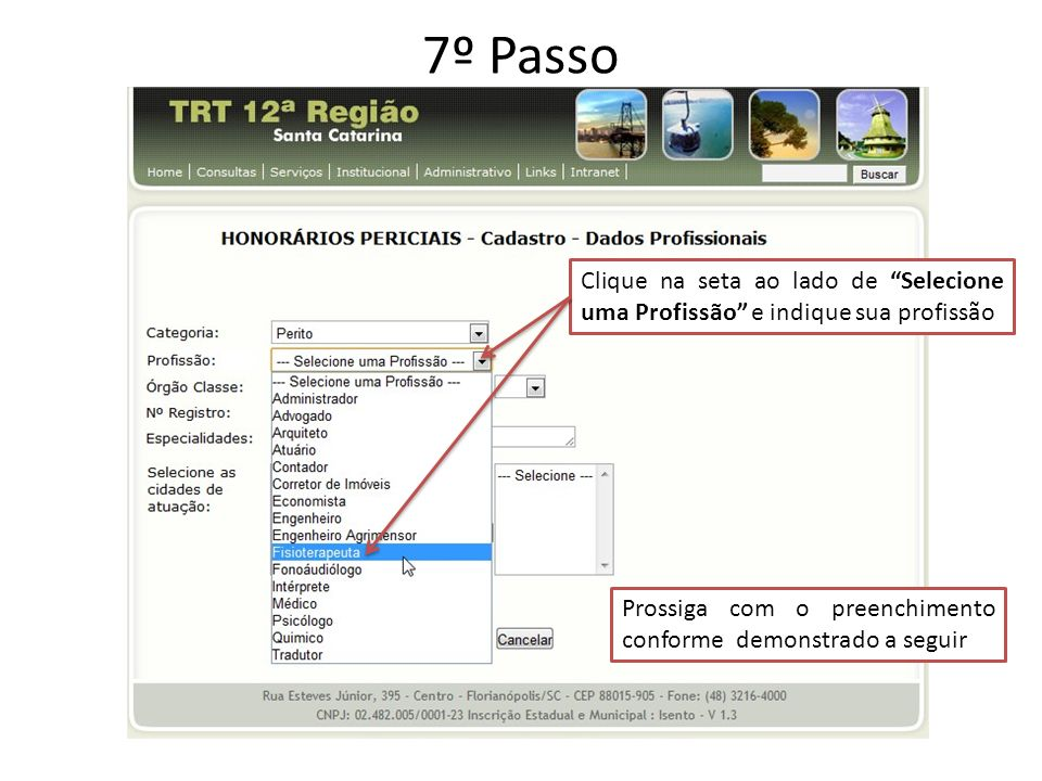 7º Passo Clique na seta ao lado de Selecione uma Profissão e indique sua profissão.