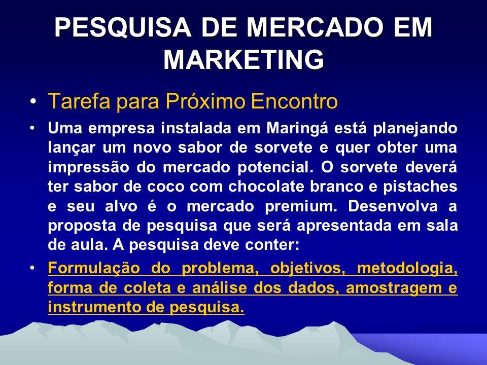 PESQUISA DE MERCADO EM MARKETING