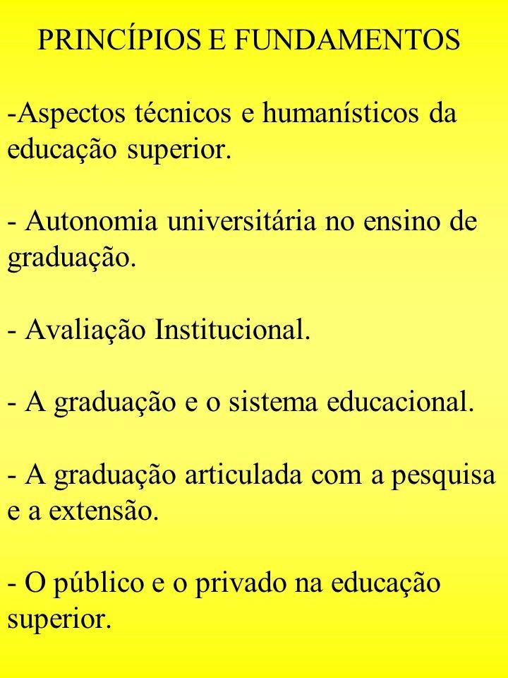PRINCÍPIOS E FUNDAMENTOS -Aspectos técnicos e humanísticos da educação superior.