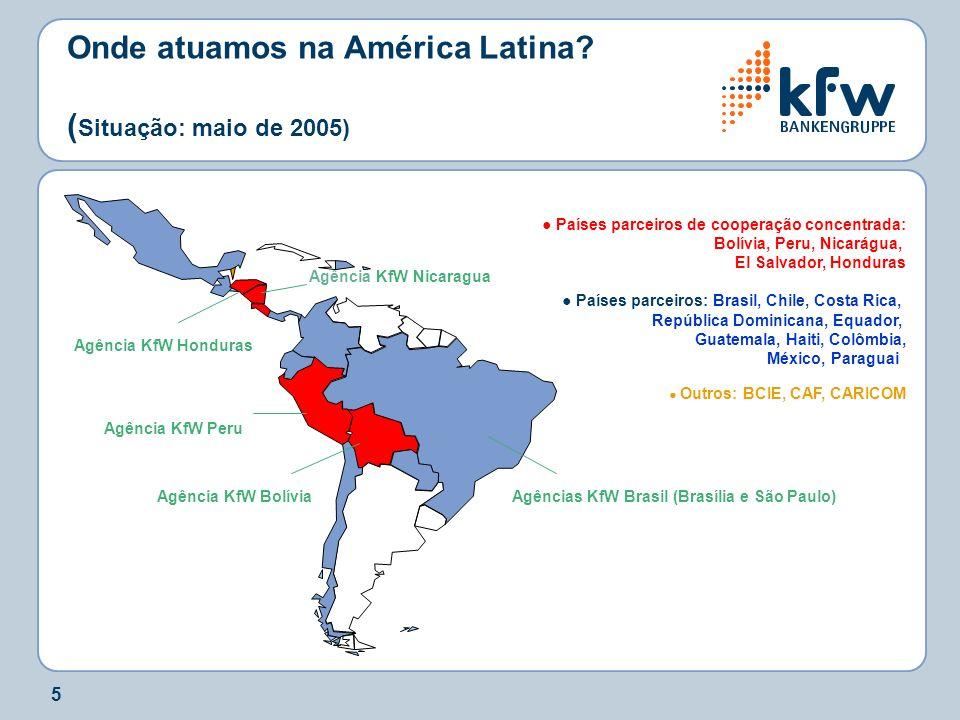Onde atuamos na América Latina (Situação: maio de 2005)