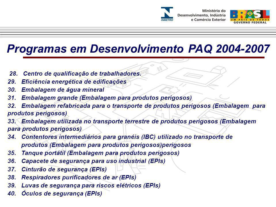 Programas em Desenvolvimento PAQ 2004-2007
