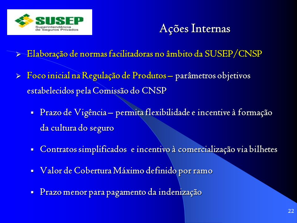 Ações Internas Elaboração de normas facilitadoras no âmbito da SUSEP/CNSP.