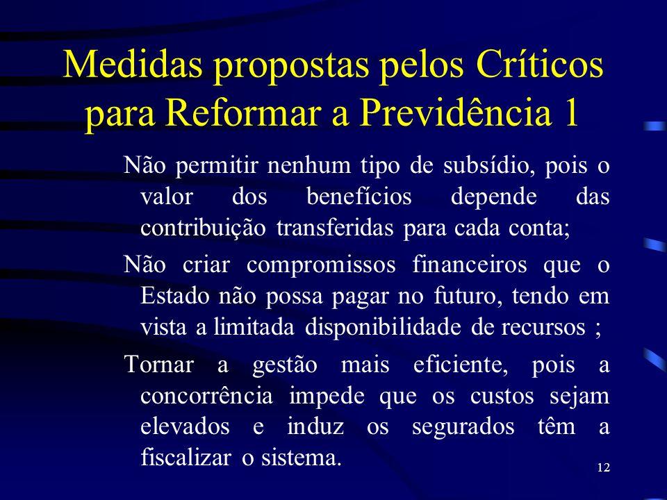 Medidas propostas pelos Críticos para Reformar a Previdência 1