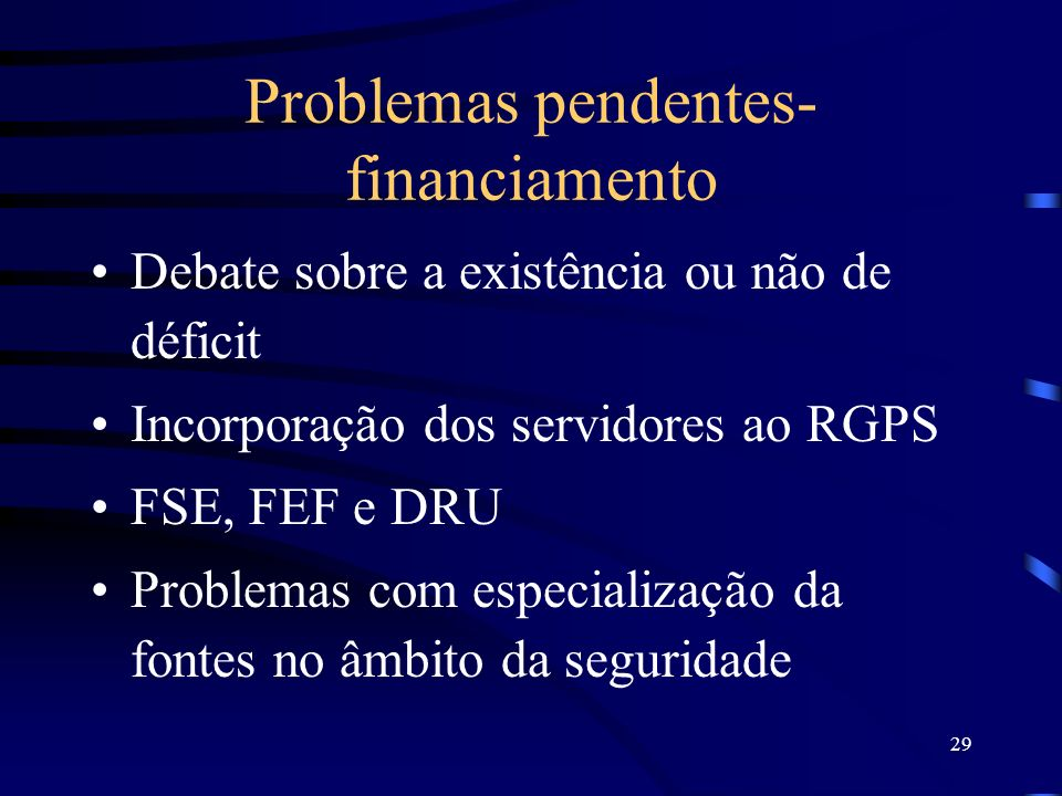 Problemas pendentes- financiamento