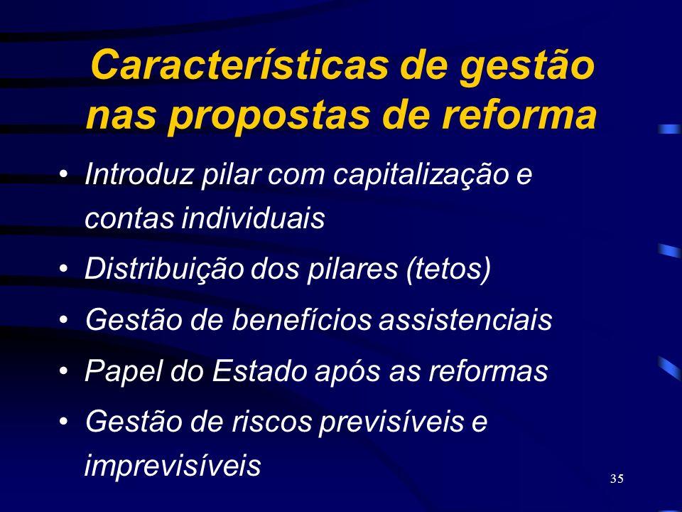 Características de gestão nas propostas de reforma