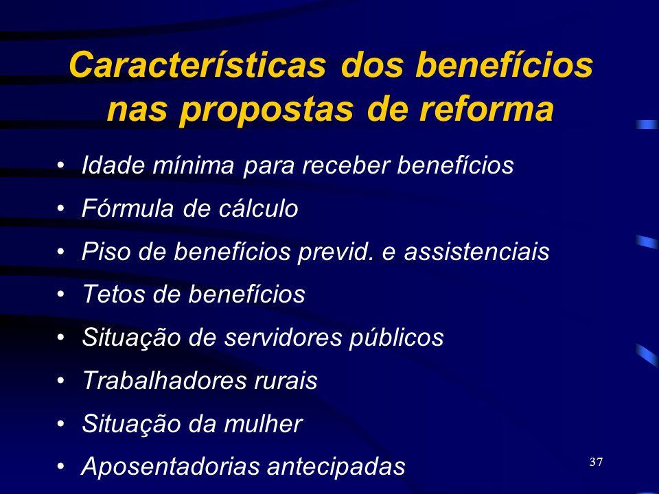 Características dos benefícios nas propostas de reforma