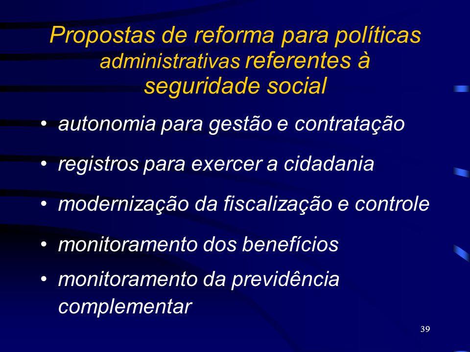 Propostas de reforma para políticas administrativas referentes à seguridade social
