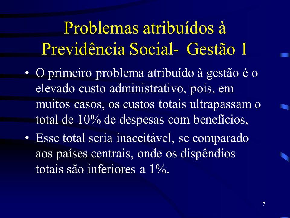 Problemas atribuídos à Previdência Social- Gestão 1