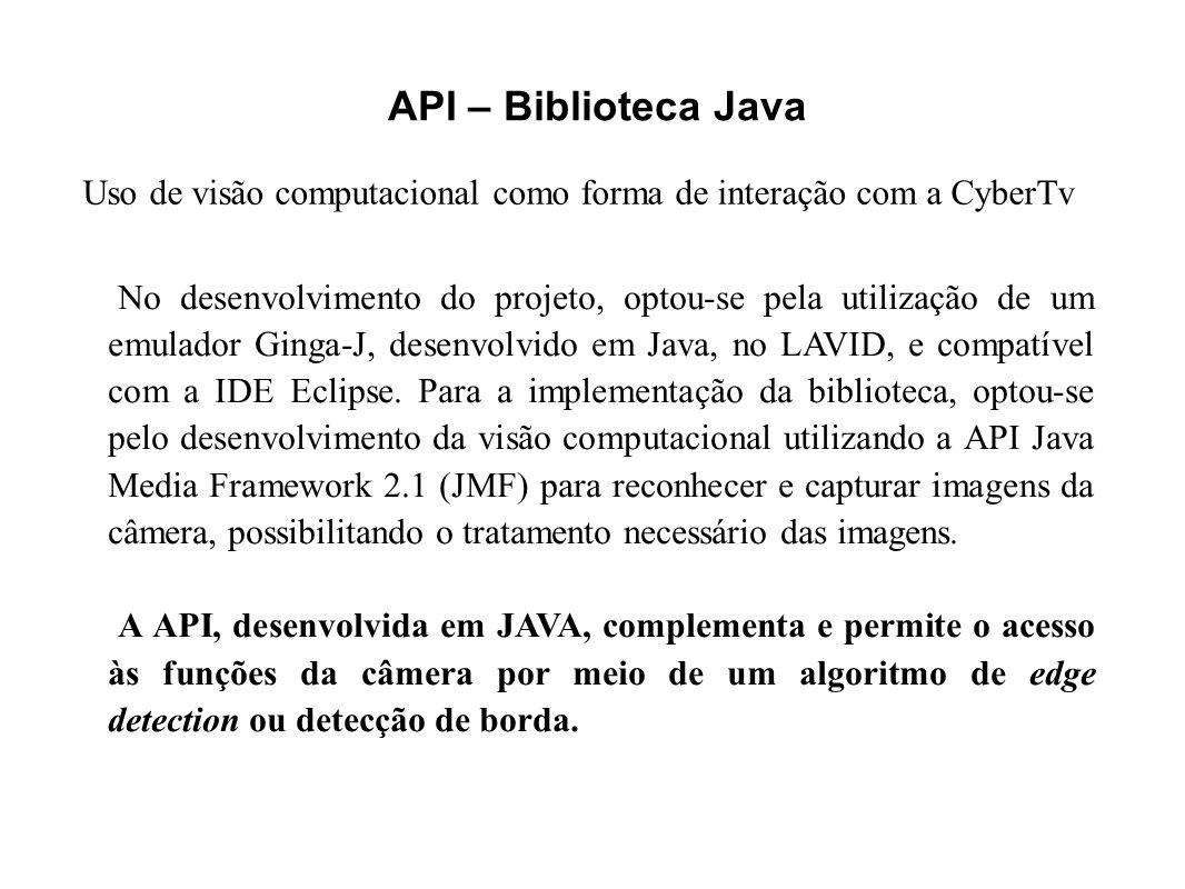 API – Biblioteca Java Uso de visão computacional como forma de interação com a CyberTv.