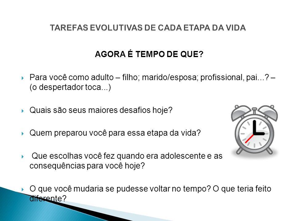 TAREFAS EVOLUTIVAS DE CADA ETAPA DA VIDA