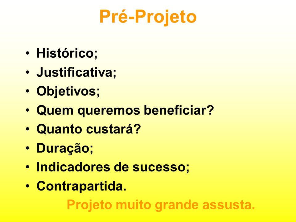 Pré-Projeto Histórico; Justificativa; Objetivos;