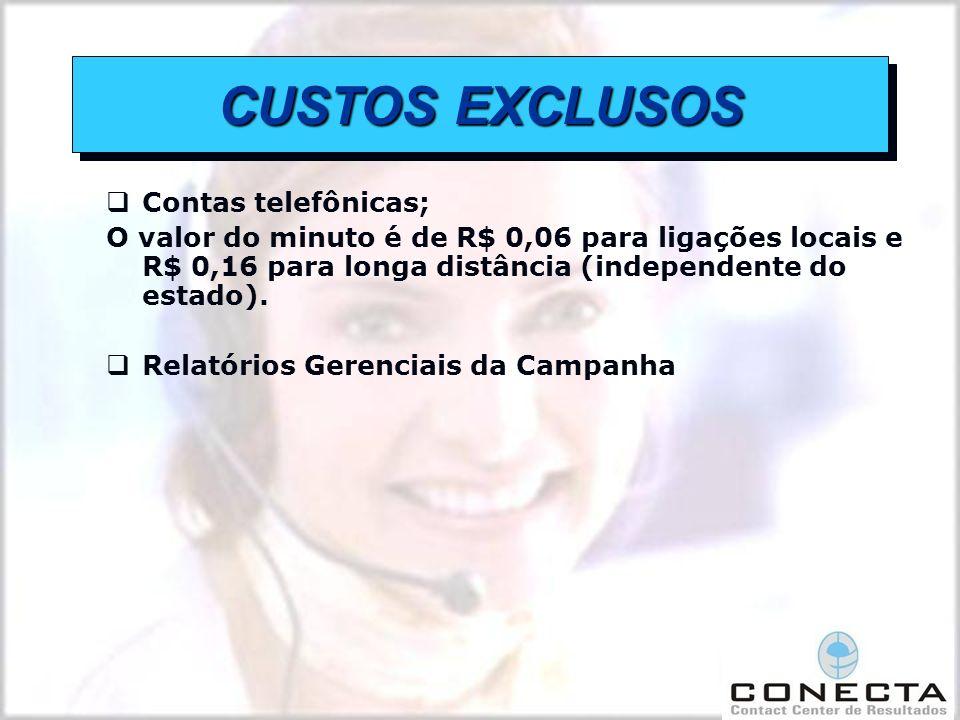 CUSTOS EXCLUSOS Contas telefônicas;