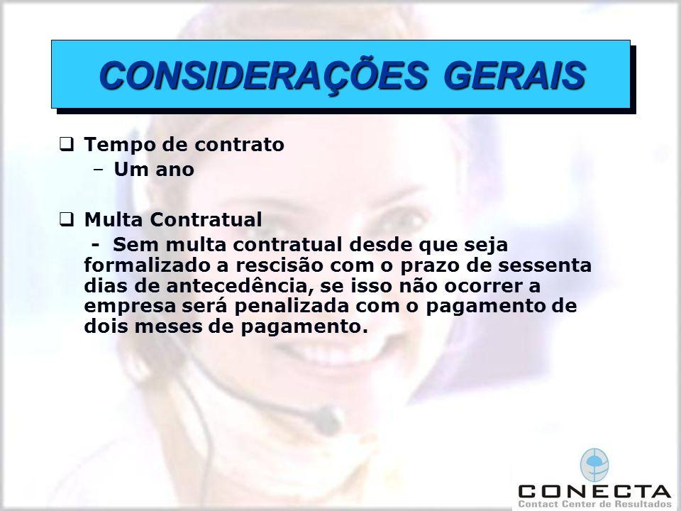 CONSIDERAÇÕES GERAIS Tempo de contrato Um ano Multa Contratual