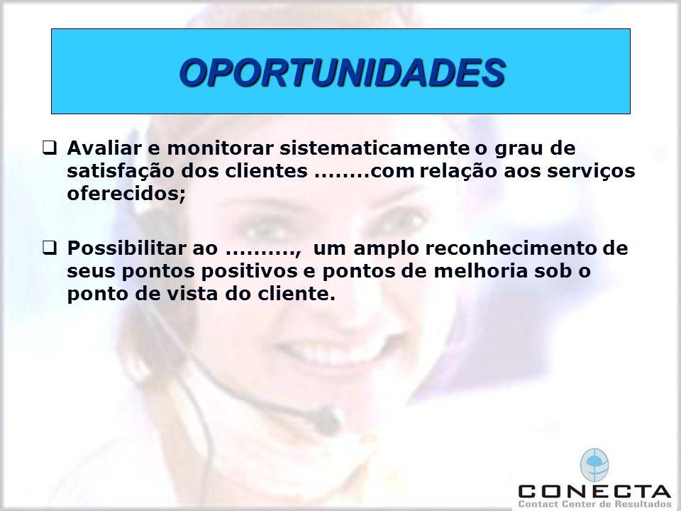 OPORTUNIDADES Avaliar e monitorar sistematicamente o grau de satisfação dos clientes ........com relação aos serviços oferecidos;