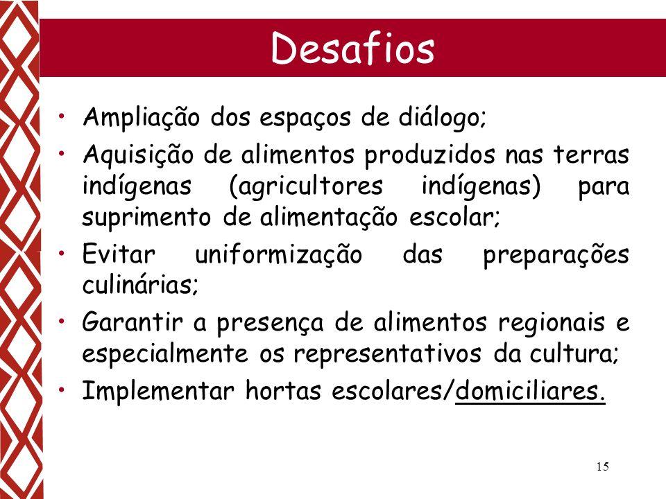 Desafios Ampliação dos espaços de diálogo;