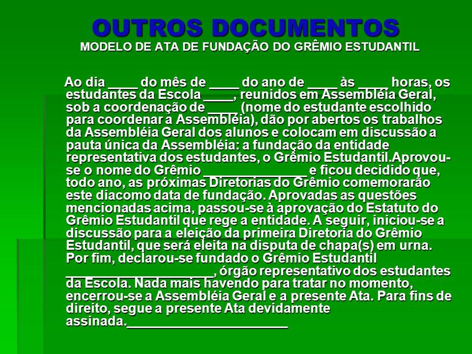 MODELO DE ATA DE FUNDAÇÃO DO GRÊMIO ESTUDANTIL