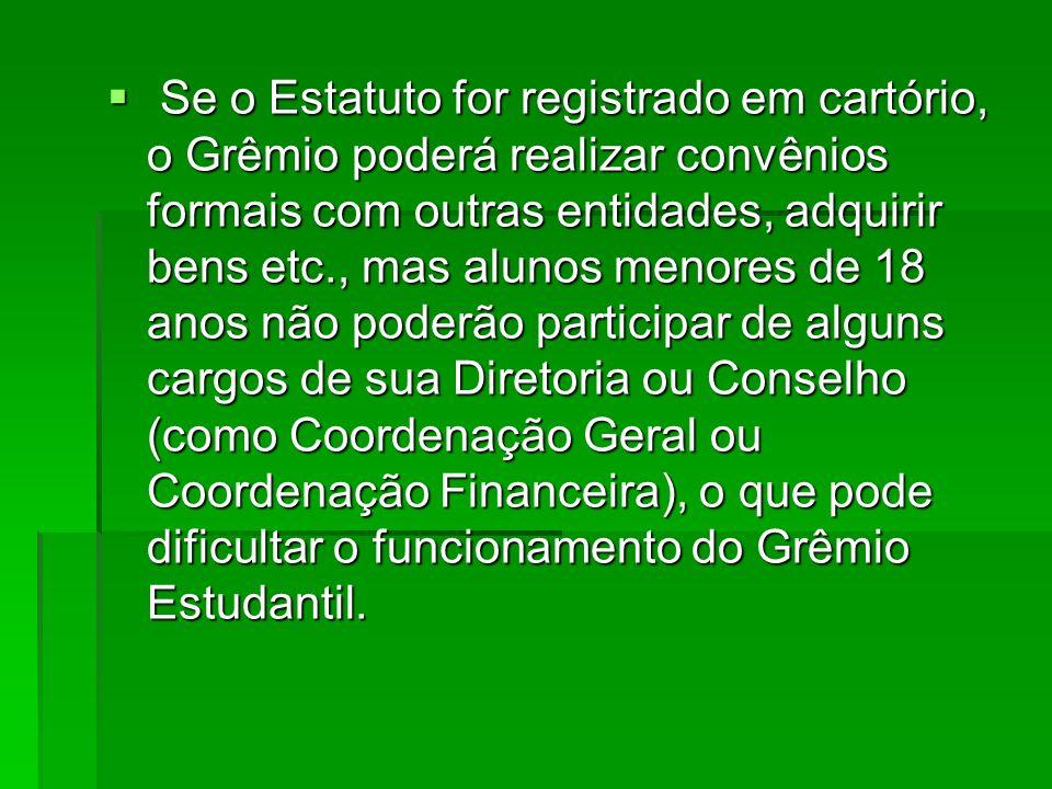 Se o Estatuto for registrado em cartório, o Grêmio poderá realizar convênios formais com outras entidades, adquirir bens etc., mas alunos menores de 18 anos não poderão participar de alguns cargos de sua Diretoria ou Conselho (como Coordenação Geral ou Coordenação Financeira), o que pode dificultar o funcionamento do Grêmio Estudantil.