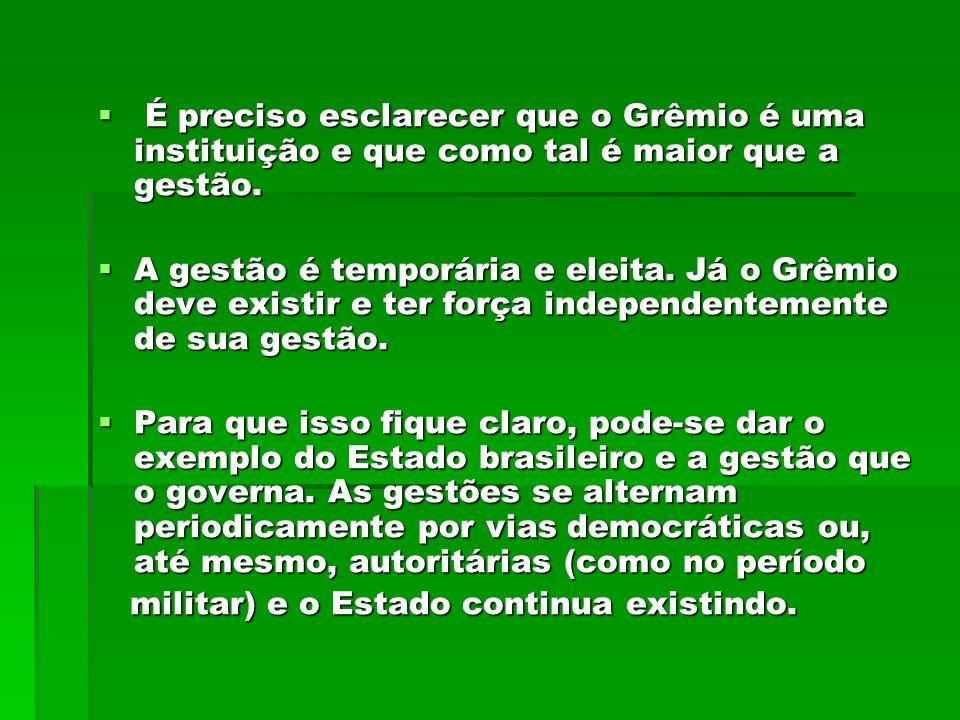 É preciso esclarecer que o Grêmio é uma instituição e que como tal é maior que a gestão.