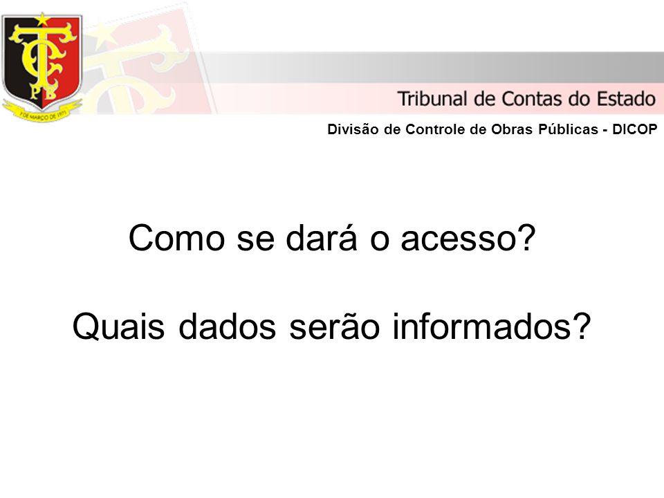 Como se dará o acesso Quais dados serão informados