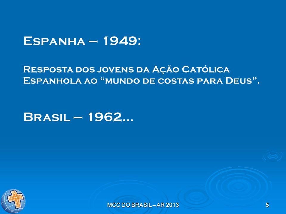 Espanha – 1949: Resposta dos jovens da Ação Católica Espanhola ao mundo de costas para Deus . Brasil – 1962...