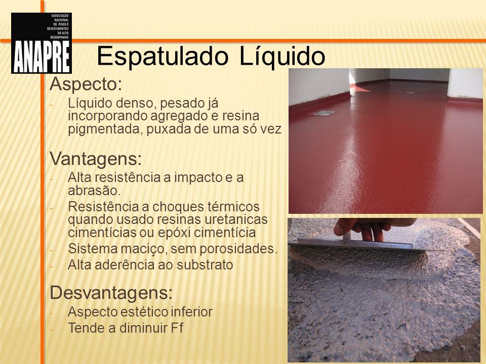 Espatulado Líquido Aspecto: Vantagens: Desvantagens:
