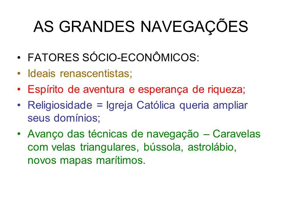 AS GRANDES NAVEGAÇÕES FATORES SÓCIO-ECONÔMICOS: Ideais renascentistas;