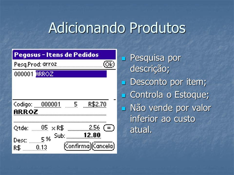 Adicionando Produtos Pesquisa por descrição; Desconto por item;