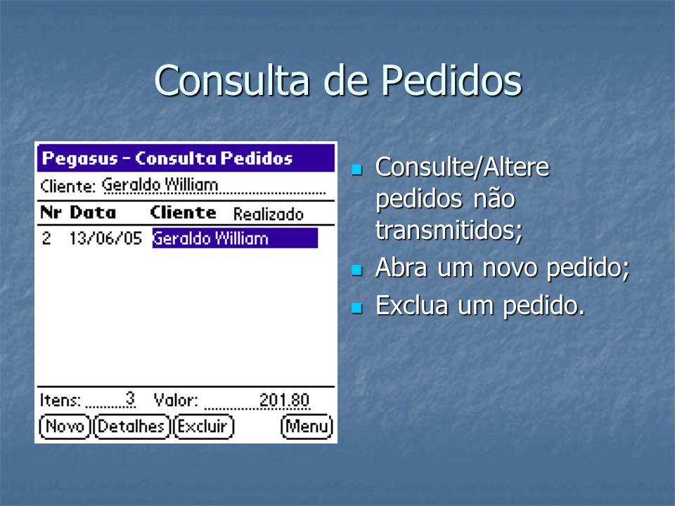 Consulta de Pedidos Consulte/Altere pedidos não transmitidos;