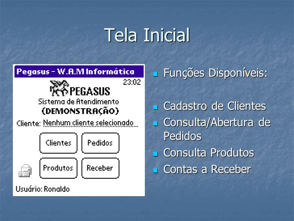 Tela Inicial Funções Disponíveis: Cadastro de Clientes