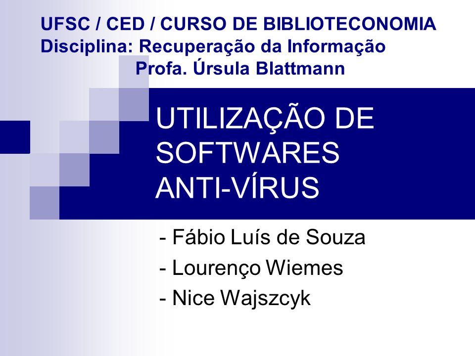 UTILIZAÇÃO DE SOFTWARES ANTI-VÍRUS