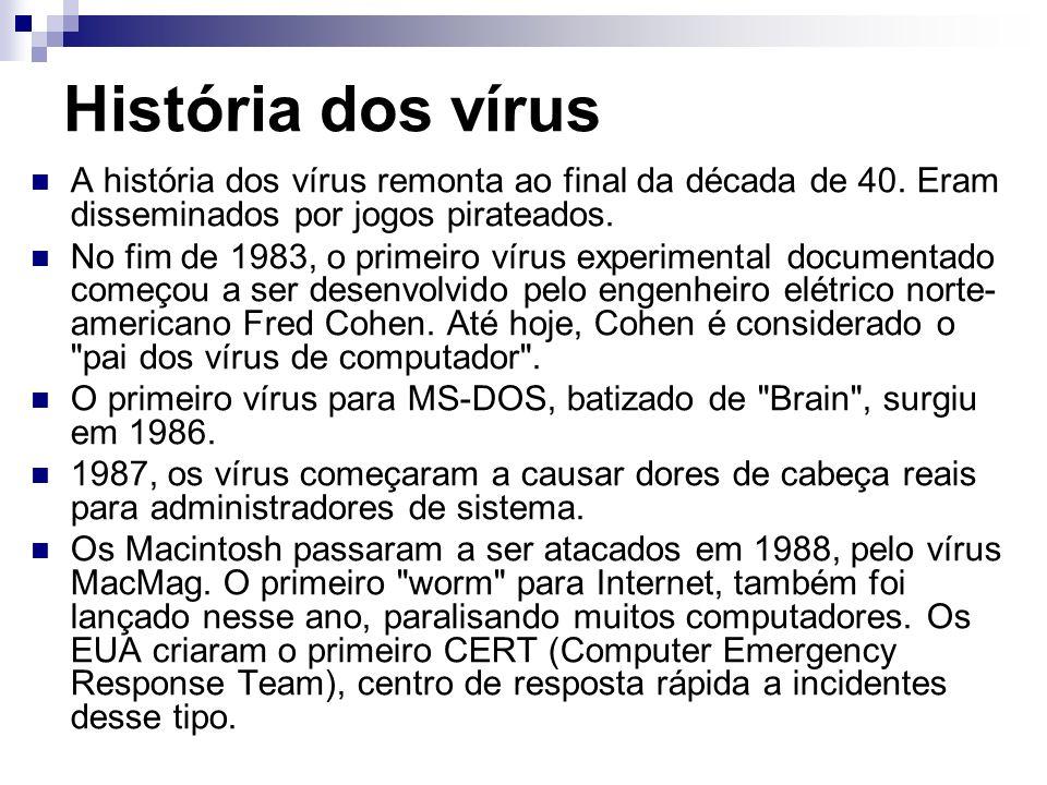 História dos vírus A história dos vírus remonta ao final da década de 40. Eram disseminados por jogos pirateados.