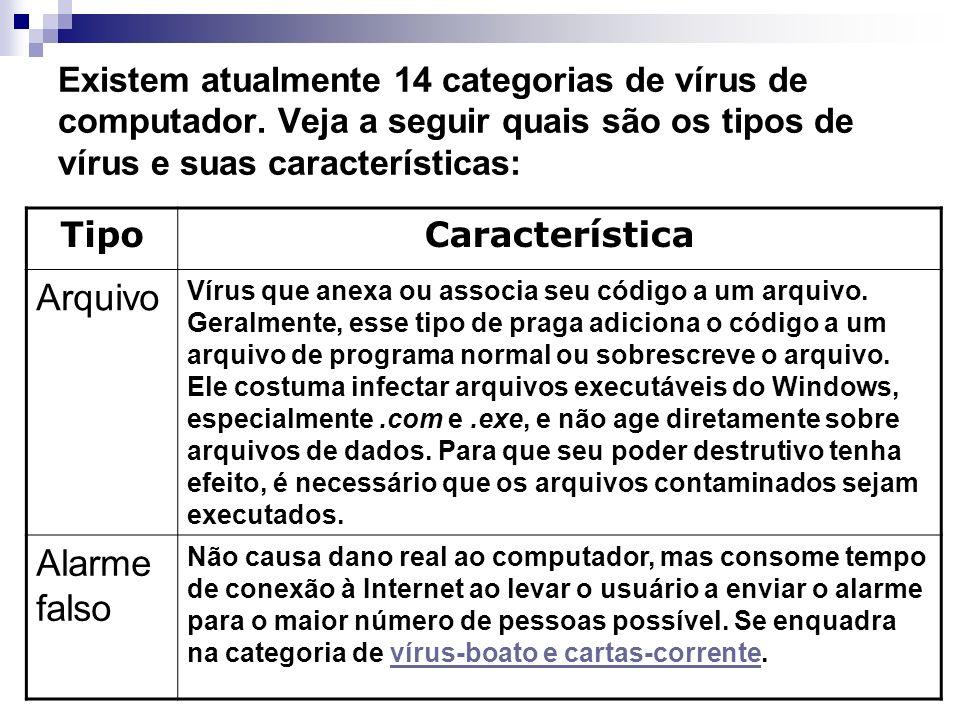 Existem atualmente 14 categorias de vírus de computador