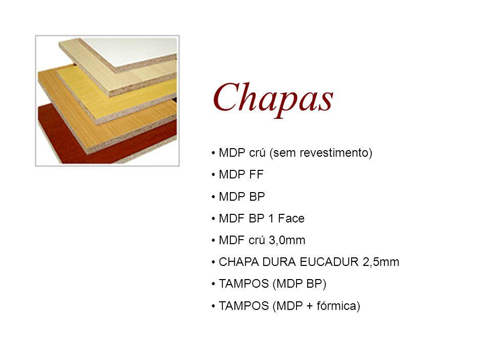 Chapas • MDP crú (sem revestimento) • MDP FF • MDP BP • MDF BP 1 Face