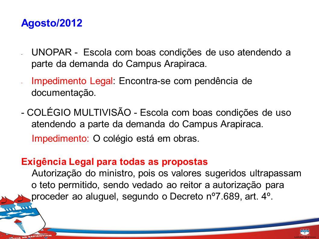 Agosto/2012 UNOPAR - Escola com boas condições de uso atendendo a parte da demanda do Campus Arapiraca.
