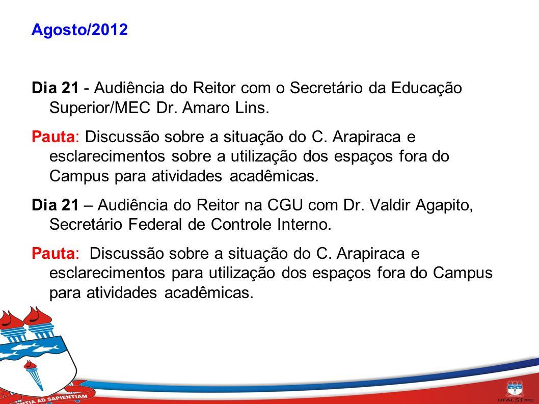 Agosto/2012 Dia 21 - Audiência do Reitor com o Secretário da Educação Superior/MEC Dr. Amaro Lins.