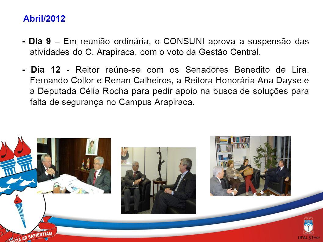 Abril/2012 - Dia 9 – Em reunião ordinária, o CONSUNI aprova a suspensão das atividades do C. Arapiraca, com o voto da Gestão Central.