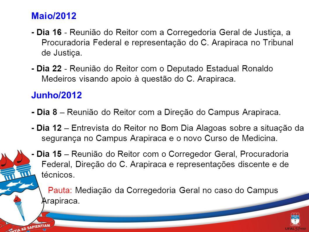 - Dia 8 – Reunião do Reitor com a Direção do Campus Arapiraca.