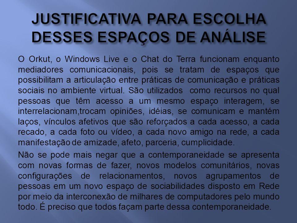 JUSTIFICATIVA PARA ESCOLHA DESSES ESPAÇOS DE ANÁLISE