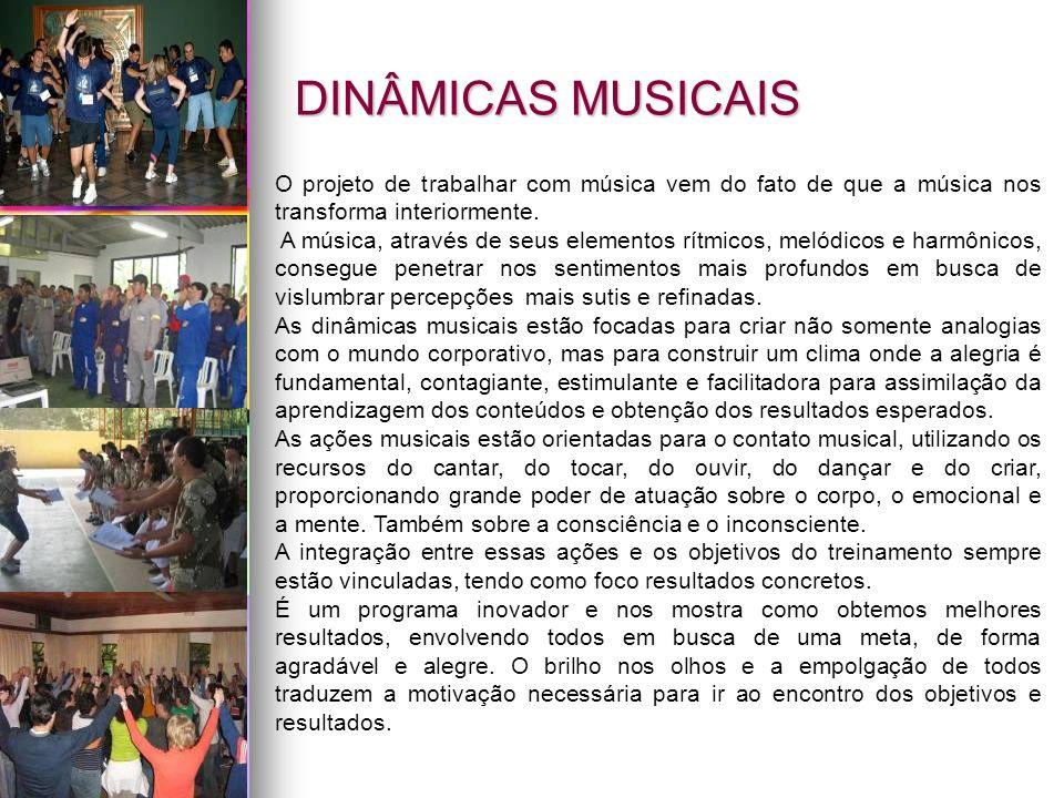 DINÂMICAS MUSICAIS O projeto de trabalhar com música vem do fato de que a música nos transforma interiormente.