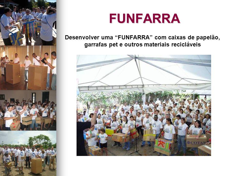 FUNFARRA Desenvolver uma FUNFARRA com caixas de papelão, garrafas pet e outros materiais recicláveis.
