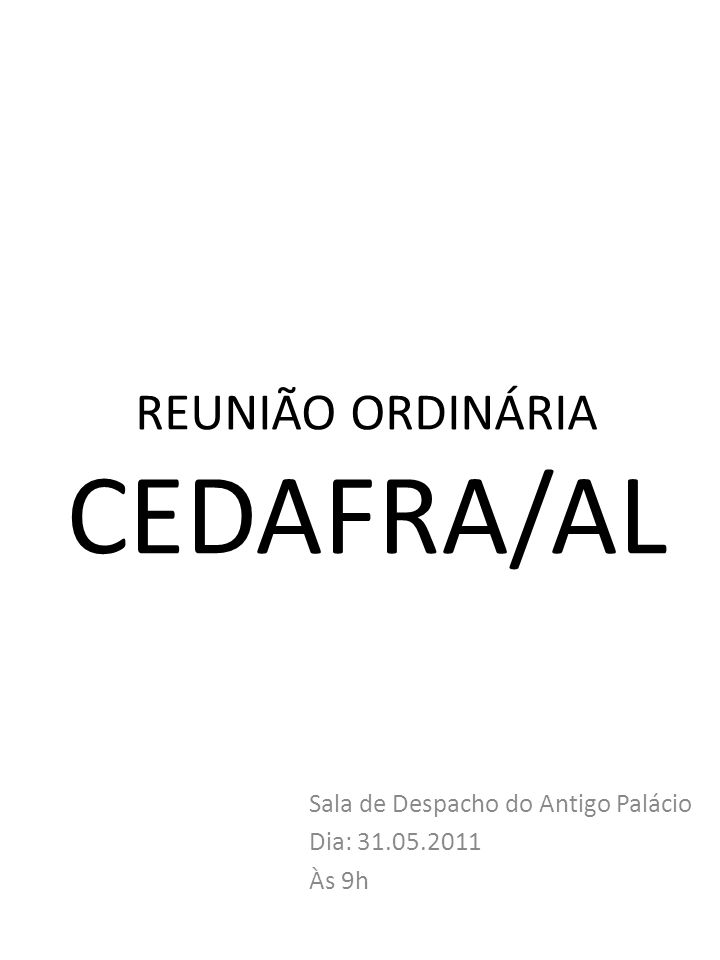 REUNIÃO ORDINÁRIA CEDAFRA/AL