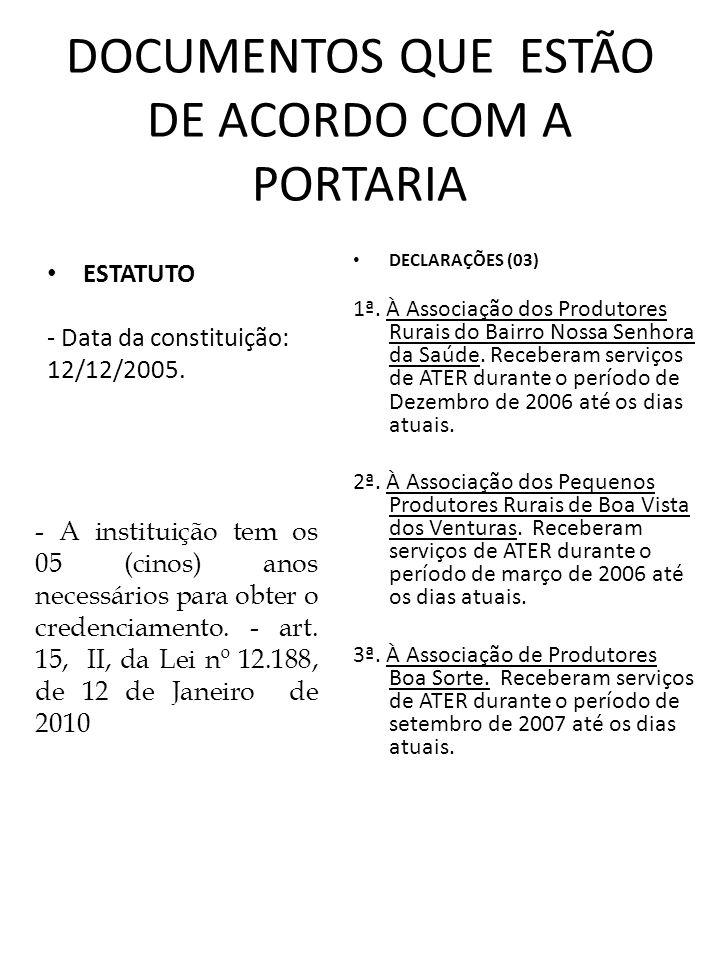 DOCUMENTOS QUE ESTÃO DE ACORDO COM A PORTARIA