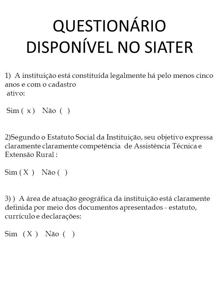 QUESTIONÁRIO DISPONÍVEL NO SIATER