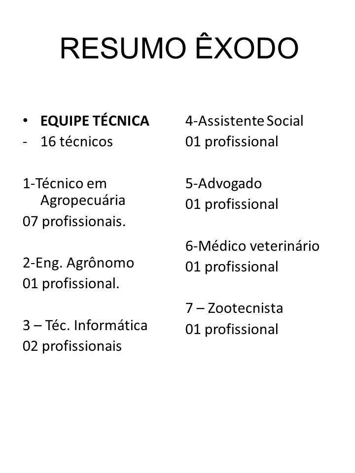 RESUMO ÊXODO EQUIPE TÉCNICA 16 técnicos 1-Técnico em Agropecuária