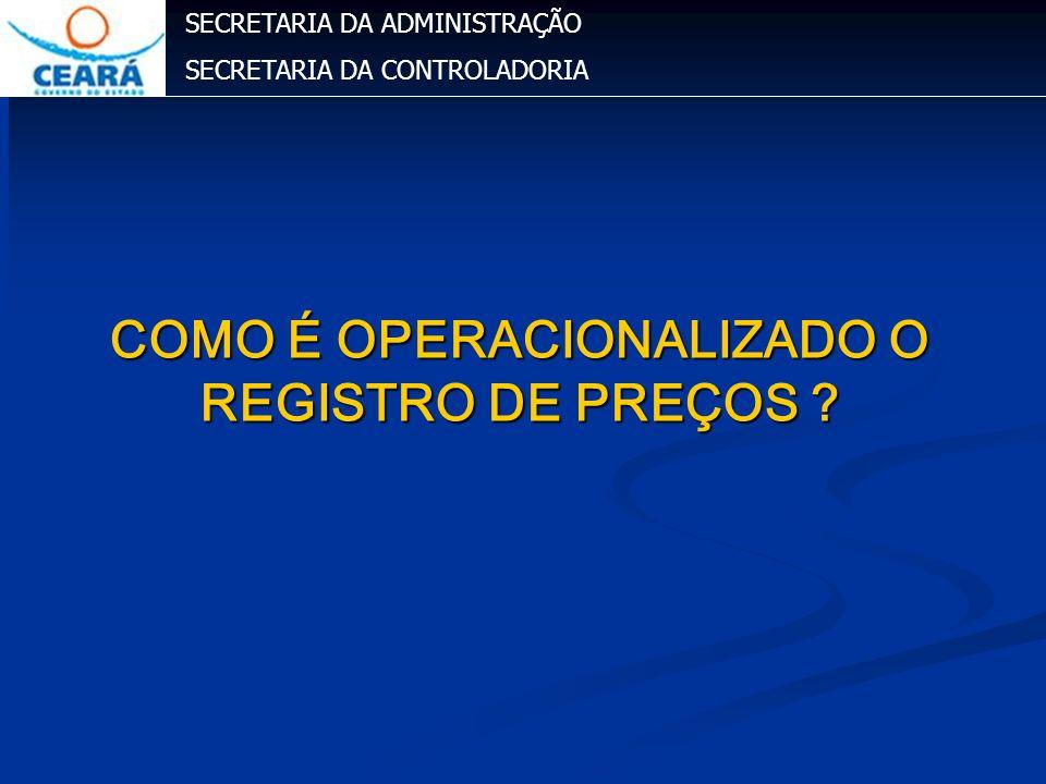 COMO É OPERACIONALIZADO O REGISTRO DE PREÇOS