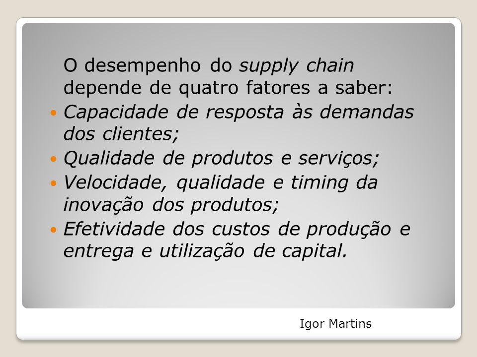 O desempenho do supply chain depende de quatro fatores a saber: