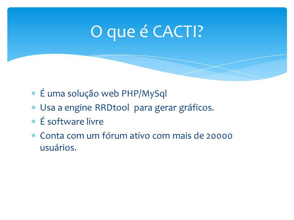 O que é CACTI É uma solução web PHP/MySql