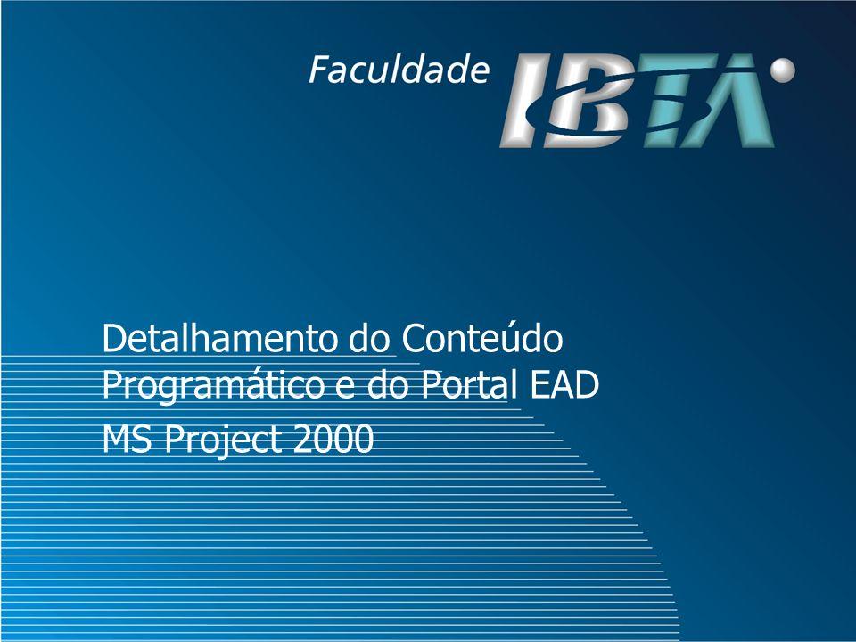Detalhamento do Conteúdo Programático e do Portal EAD MS Project 2000